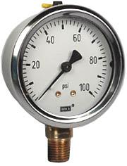"""Industrial Pressure Gauge 2.5"""", 100 PSI"""