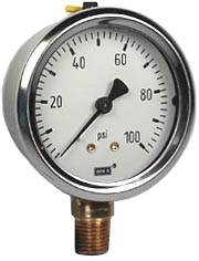 "WIKA Industrial Pressure Gauge 2.5"", 100 PSI"