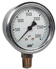"""Industrial Pressure Gauge 2.5"""", 3000 PSI"""