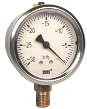 "WIKA Industrial  Vacuum Gauge 2.5"", 30"" Hg, Liquid Filled"