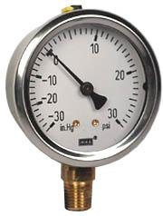 """Compound Gauge 2.5"""", 30""""Hg-0-30PSI, Liquid Filled"""