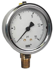 "WIKA Industrial Pressure Gauge 2.5"", 15 PSI, Liquid Filled"