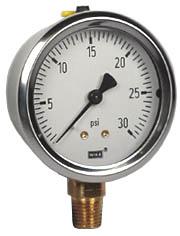 "WIKA Industrial Pressure Gauge 2.5"", 30 PSI, Liquid Filled"