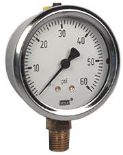"WIKA Industrial Pressure Gauge 2.5"", 60 PSI, Liquid Filled"