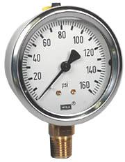 "WIKA Industrial Pressure Gauge 2.5"", 160 PSI, Liquid Filled"