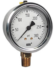 "Industrial Pressure Gauge 2.5"", 300 PSI, Liquid Filled"