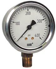 "WIKA Industrial Pressure Gauge 2.5"", 400 PSI, Liquid Filled"