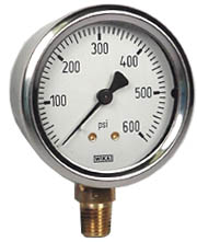 "Industrial Pressure Gauge 2.5"", 600 PSI, Liquid Filled"