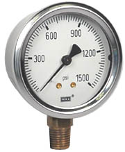 "WIKA Industrial Pressure Gauge 2.5"", 1500 PSI, Liquid Filled"
