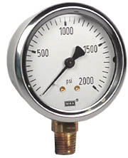 "WIKA Industrial Pressure Gauge 2.5"", 2000 PSI, Liquid Filled"
