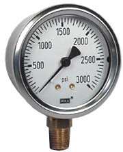 "WIKA Industrial Pressure Gauge 2.5"", 3000 PSI, Liquid Filled"