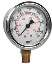 "Industrial Pressure Gauge 2.5"", 7500 PSI, Liquid Filled"