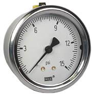 "WIKA Industrial Pressure Gauge 2.5"", 15 PSI"