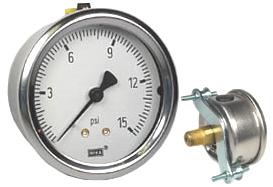 "WIKA U-Clamp Panel Mount Pressure Gauge 2.5"", 15 PSI"