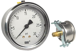 "WIKA U-Clamp Panel Mount Pressure Gauge 2.5"", 30 PSI"