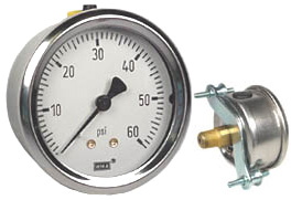 "WIKA U-Clamp Panel Mount Pressure Gauge 2.5"", 60 PSI"
