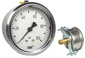 "WIKA U-Clamp Panel Mount Pressure Gauge 2.5"", 100 PSI"