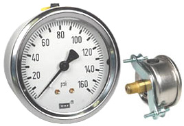 "WIKA U-Clamp Panel Mount Pressure Gauge 2.5"", 160 PSI"