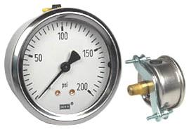 "WIKA U-Clamp Panel Mount Pressure Gauge 2.5"", 200 PSI"