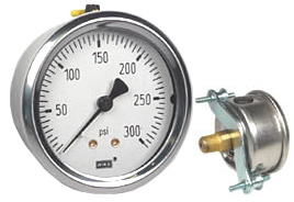 "WIKA U-Clamp Panel Mount Pressure Gauge 2.5"", 300 PSI"