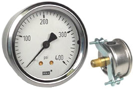 "WIKA U-Clamp Panel Mount Pressure Gauge 2.5"", 400 PSI"
