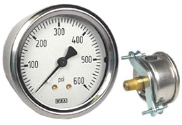 "WIKA U-Clamp Panel Mount Pressure Gauge 2.5"", 600 PSI"