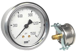 "WIKA U-Clamp Panel Mount Pressure Gauge 2.5"", 1500 PSI"