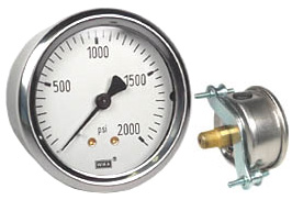 "WIKA U-Clamp Panel Mount Pressure Gauge 2.5"", 2000 PSI"