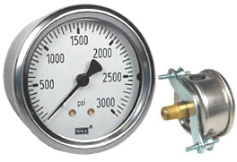 "WIKA U-Clamp Panel Mount Pressure Gauge 2.5"", 3000 PSI"