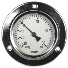 "WIKA Panel Mount Compound Gauge 2.5"", 30""Hg-0-30 PSI"