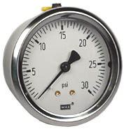 "WIKA Industrial Pressure Gauge 2.5"", 30 PSI, Liquid Filled"