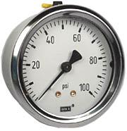 "WIKA Industrial Pressure Gauge 2.5"", 100 PSI, Liquid Filled"