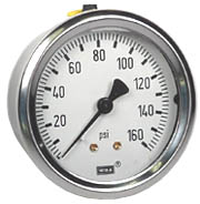 "WIKA Industrial Pressure Gauge 2.5"", 160 PSI, Liquid Filled"