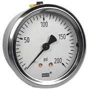 "WIKA Industrial Pressure Gauge 2.5"", 200 PSI, Liquid Filled"