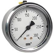 "WIKA Industrial Pressure Gauge 2.5"", 300 PSI, Liquid Filled"