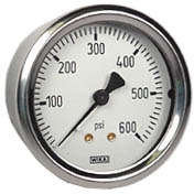 "WIKA Industrial Pressure Gauge 2.5"", 600 PSI, Liquid Filled"