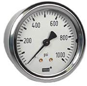 "WIKA Industrial Pressure Gauge 2.5"", 1000 PSI, Liquid Filled"