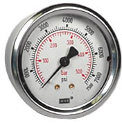 "WIKA Industrial Pressure Gauge 2.5"", 7500 PSI, Liquid Filled"
