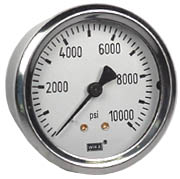 "WIKA Industrial Pressure Gauge 2.5"", 10,000 PSI, Liquid Filled"