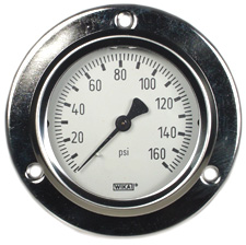 "WIKA Front Flg Panel Mt Gauge 2.5"", 160 PSI, Liq Filled"
