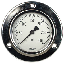 "WIKA Front Flg Panel Mt Gauge 2.5"", 300 PSI, Liq Filled"
