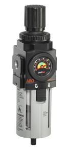 """ARO Piggyback Air Filter/Regulator-Gauge 1/2"""", 0-140PSI"""