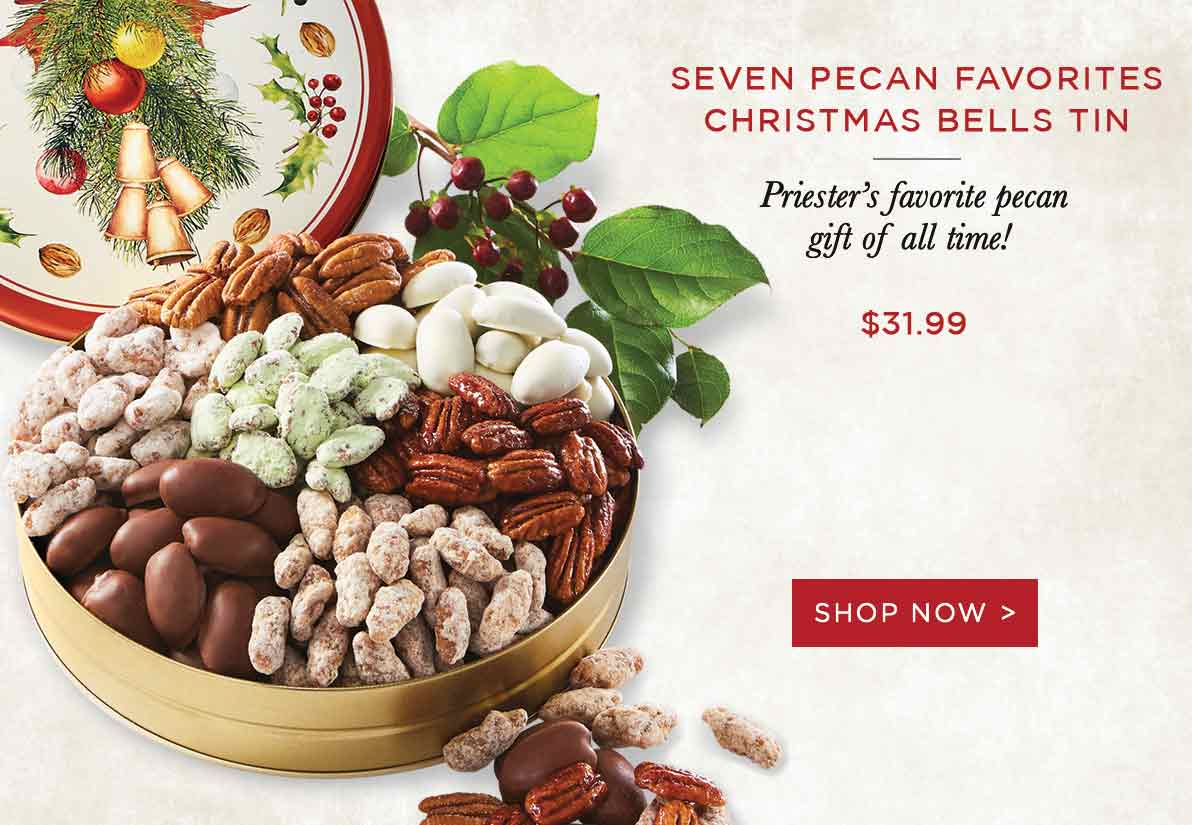 Seven Pecan Favorites Christmas Bells Tin