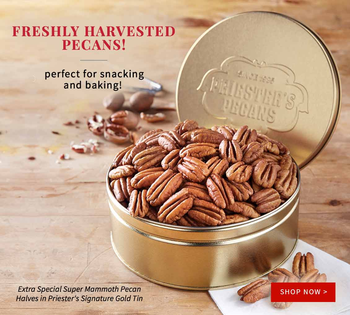 Extra Special Super Mammoth Pecan Halves - Priester's Signature Gold Tin