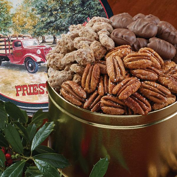 Season's Greeting Pecan Snack Tin