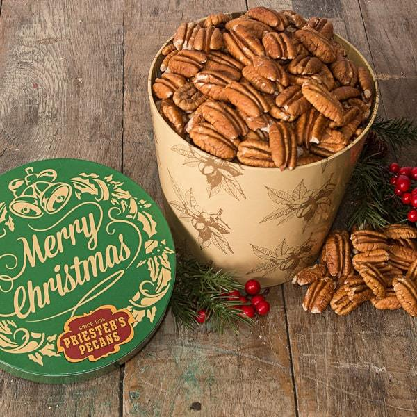 Merry Christmas Gift Tub - Natural Pecan Halves