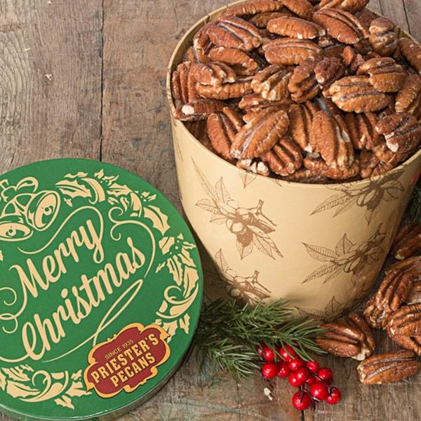 Merry Christmas Gift Tub - Roasted & Salted Pecan Halves