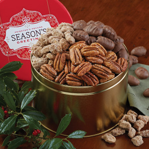Season's Greeting Pecan Snack Tin