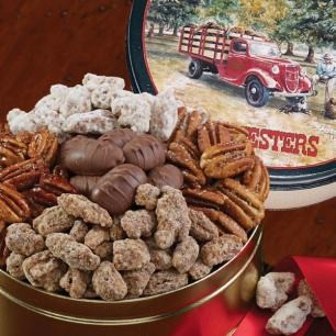 Pecan Assortment Gift Tin #43 - Holiday Greetings Tin