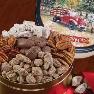 Pecan Assortment Gift Tin - Holiday Greetings Tin
